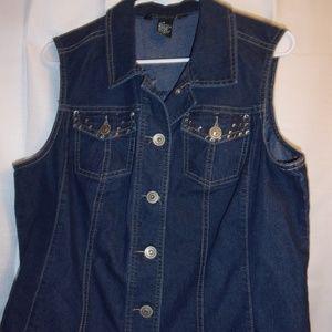 Baccini Sz Xl Embellished Jean Vest